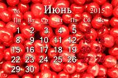 Calendar For June Of 2015 Year With Berries Of Prunus Tomentosa