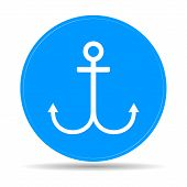 Anchor Symbol On Blue Background