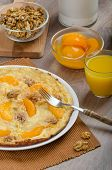 Sweet Egg Omelet With Walnuts And Peaches