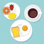 stock photo of flat-bread  - Breakfast food and drinks in flat style vector illustration - JPG