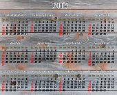 Calendar For 2015 Year On The Wooden Texture
