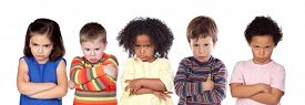 picture of angry  - Five angry children isolated on a white background - JPG