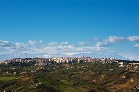 image of teats  - Chieti and the mountain of Morrone and Gran Sasso background  - JPG