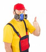 stock photo of gas mask  - Worker in gas mask - JPG