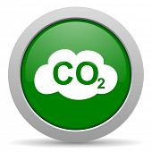 foto of carbon-dioxide  - carbon dioxide green glossy web icon
