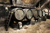 pic of fermentation  - Interior of an old wine cellar at a winery with a row of wooden oak casks for fermentation and maturating of the wine arranged along one wall - JPG