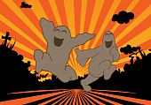 stock photo of stomp  - free ghosts running in the sun set - JPG