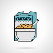 picture of cereal bowl  - Flat color design vector icon for box and bowl with cereal on white background - JPG