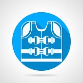 picture of vest  - Flat round blue vector icon with white contour life vest on gray   background - JPG