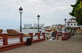 picture of hercules  - High angle view of Icod de los Vinos on cloudy day along Canarias Street from terrace behind Church of San Marcos near stairs above corner Borges and Hercules Tenerife Canary Spain. ** Note: Soft Focus at 100%, best at smaller sizes - JPG