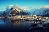 stock photo of reining  - snow in Reine Village - JPG