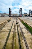 picture of shipyard  - Perspective of machinery and a shipyard ramp - JPG