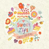 stock photo of sweet dreams  - Awesome vector background with cakes - JPG