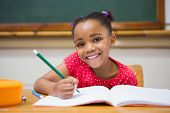 picture of classroom  - Cute pupils writing at desk in classroom at the elementary school - JPG