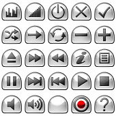 Semicircular Grey Control Panel Icons Or Buttons