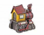 picture of locomotive  - The model of steam locomotive is photographed on a white background - JPG