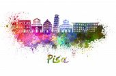 stock photo of path  - Pisa skyline in watercolor splatters with clipping path - JPG