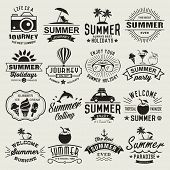 stock photo of summer beach  - Summer logotypes set - JPG