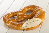 pic of pretzels  - A pretzel is a type of baked bread product made from dough most commonly shaped into a knot - JPG