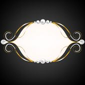 picture of swirly  - Black background with golden jewelry swirly frame - JPG