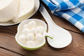 picture of curd  - Dairy products on wooden table - JPG