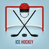 image of ice hockey goal  - Ice hockey helmet hockey puck sticks and goal - JPG