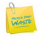 pic of reduce  - reduce food waste post memo sign concept illustration design over white background - JPG