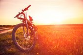 pic of mountain sunset  - Mountain biking down hill descending fast on bicycle - JPG