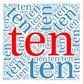 foto of ten  - Ten word cloud on a white background - JPG