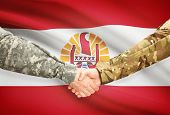 picture of french polynesia  - Soldiers shaking hands with flag on background  - JPG