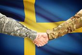 stock photo of sweden flag  - Soldiers shaking hands with flag on background  - JPG
