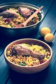 image of thighs  - hicken paella a traditional Valencian  - JPG