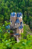 picture of moselle  - View from hill above of Eltz castle Muenstermaifeld - JPG