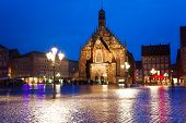 pic of bavaria  - Frauenkirche view at night on Hauptmarkt square in Nuremberg - JPG