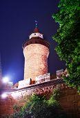 image of bavaria  - Kaiserburg wall with Sinwellturm at night in Nuremberg - JPG