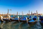pic of gondola  - Gondolas in a summer day in Venice Italy - JPG