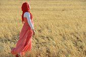 stock photo of muslim kids  - Muslim girl enjoying in nature - JPG