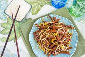 picture of spam  - Hawaiian stir fry made with spam and bean sprouts - JPG