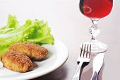 pic of pork cutlet  - roasted cutlets of pork with potato and wine - JPG