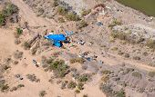 foto of tarp  - Homeless camp on the banks of the Salt River from above - JPG