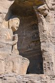 picture of stone sculpture  - stone Buddha sculpture in the cave in Shanxi - JPG