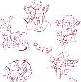 set of flying angels (cupids), symbols of love