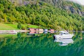stock photo of fjord  - Typical houses - JPG