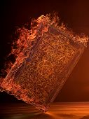 picture of satan  - Leather Book in flames With Pentagram - JPG