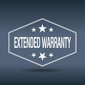 picture of extend  - extended warranty hexagonal white vintage retro style label - JPG