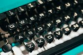 picture of key  - Close Up Toned Photo Of Antique Typewriter Keys - JPG