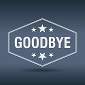 foto of goodbye  - goodbye hexagonal white vintage retro style label - JPG