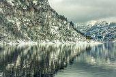 foto of fjord  - Beautiful mountain landscape with the Norwegian fjords in winter - JPG