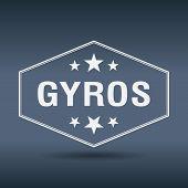 picture of gyro  - gyros hexagonal white vintage retro style label - JPG