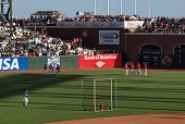 Philadelphia Phillies Standing In The Outfield During Batting Practice